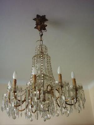 gran araña de bronce y cristales facetados 10 luces