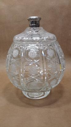 gran caramelera de cristal tallado con tapa y pomo de plata
