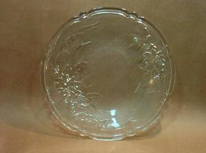 plato fuente de antiguo cristal prensado checoeslovaco