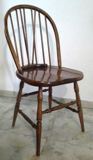 Juego 4 sillas antiguas estilo windsor madera maciza roble