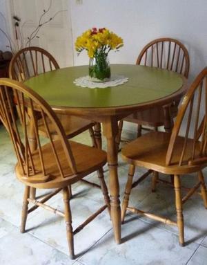 Juego comedor estilo windsor mesa con trampa y 4 sillas