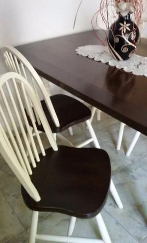 Juego mesa madera nogal y 4 sillas windsor estilo nórdico