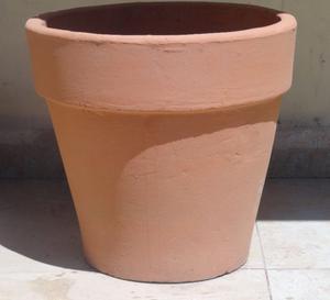Maceta tipo vasija de cemento color terracota posot class - Maceta de cemento ...