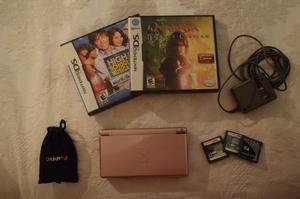 Consola Nintendo Ds Lite Portatil Rosa + 3 Juegos