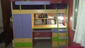 Usado cama alta para colocar escritorio abajo posot class - Cama alta con escritorio ...