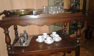 Antigua mesa bar carro estilo espa ol 4 ruedas posot class for Mesa carro bar madera