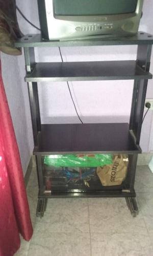 Mesa para tele madera masisa color negro varios estantes uno