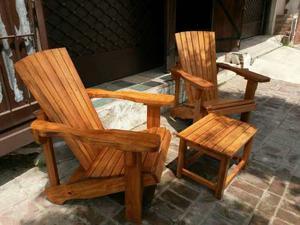 Juego de sillones y mesa ratona posot class for Sillones de jardin de madera