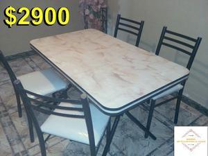 Mesa de formica pata ca o con 5 sillas de posot class for Mesa y sillas tapizadas