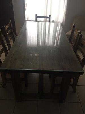 Mesa y 6 sillas estilo campo