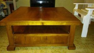 mesa ratona de madera 2 cajones+porta objetos inferior
