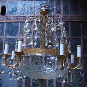 Araña bronce dorado de 16 Luces, gran cristal tallado y 190