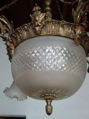 Lámpara Araña de Bronce y Cristal