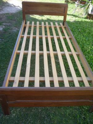 vendo cama de 1 plaza de madera maciza + colchon