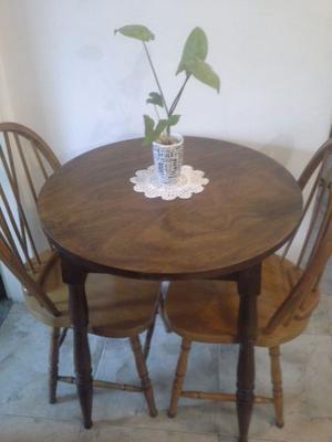 Juego windsor antiguo mesa tipo bar desayunador y 2 sillas