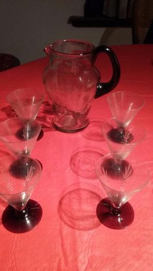 antiguo juegos de 6 copas y jarra de cristal tallado
