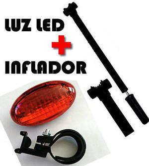 1 Inflador Bici 2 VALVULAS + 1 Luz led trasera