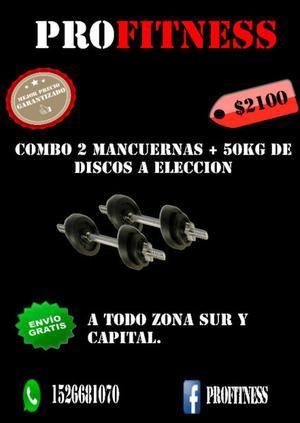 2 MANCUERNAS + 50KG DE DISCOS A ELECCION!! OFERTA!!!