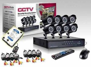 Kit Seguridad Dvr 8 Camaras Int/ext Dia Noche Cables Ip Cctv