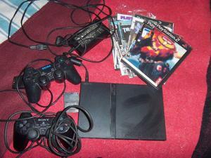 Playstation 2, slim 2 joysticks, memoria y juegos
