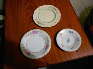 tres platitos de porcelana. DECORACIÒN
