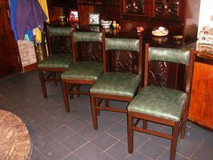 Juego de 4 sillas de madera tapizadas