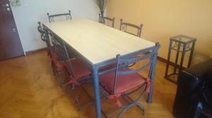 Juego de comedor, mesa y 6 sillas de hierro patinado azul