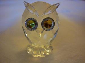 adorno buho de cristal facetado sellado swarovski