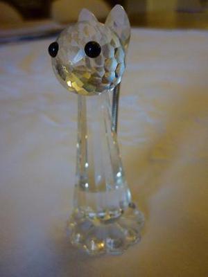 adorno de cristal facetado sellado swarovski gato con cola