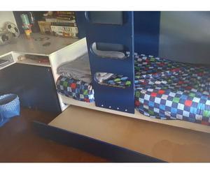 Cama nido con 3 camas + escritorio + cajones