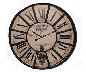 Reloj Pared Estilo Vintage Con Péndulo Reja De Hierro 62 Cm