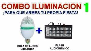Combo Luces Dj - Bola + Flash Estrobo - La Plata