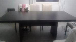 Mesa laminada en madera - Mesa laqueada negra
