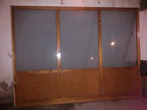 Frente para armado de oficina con mampara de madera y - Tabique de vidrio ...