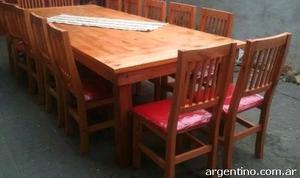 Mesa estilo campo de 3.00x1.20 con 14 sillas