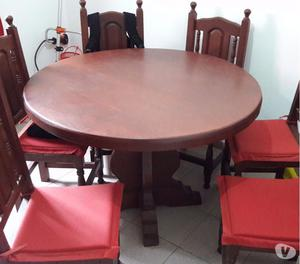Juego de mesa y 6 sillas ALGARROBO