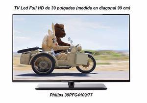 Televisor Led Philips como nuevo de 40' con soporte de pared