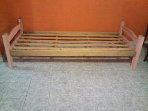 Cama Una Plaza De Pino En Buen Estado! Firme, Maderas Anchas