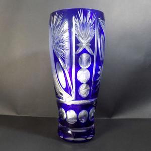 Jarrón cristal encamisado azul