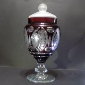 Potiche caramelera cristal tallado antiguo ruby