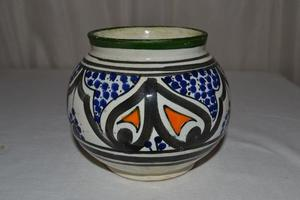 Florero Jarron Ceramica Hermosa Guarda Naranza Azul Verde