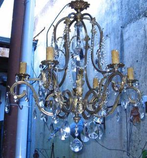 Araña de bronce 6 Luces con vidrio, 111 caireles y