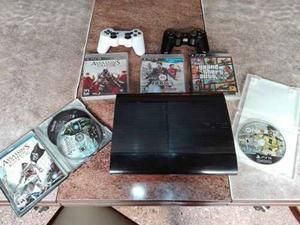 Consola Ps3 Con 5 Juegos Y 2 Joystick