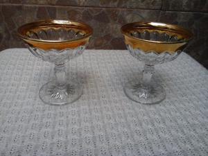 2 copas antiguas de champagne. cristal con borde dorado