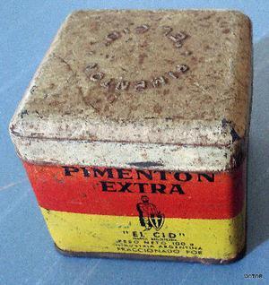 antigua lata de pimenton el cid en buen estado 5,5 x 5,5 x 5