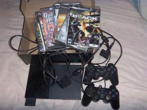 Playstation 2, slim 2 joysticks, memoria y juegos,