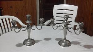 pintorescos candelabros en baño de plata