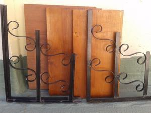 2 mensulas de hierro forjado artistico + 3 estantes