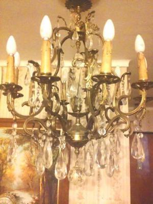 Araña de bronce macizo con 10 luces
