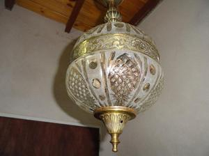 colgante globo fajado cristal esmerilado y bronce